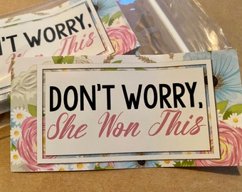 """50pk - She Won This Stickers - 2""""x4"""" - Packaging for Small Businesses"""