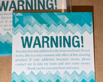 """25pk - Warning Addiction to Products - Teal Lips Stickers - 3.5""""x3.5"""" for Packages - Direct Sales"""