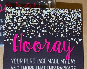 """25pk - Hooray Gold & Black Stickers - 3.5""""x3.5"""" - Bundle for Packages - Small Business"""