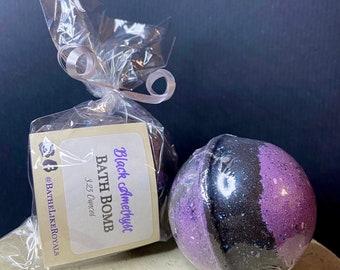 Black Amethyst Bath Bomb - 3.25oz - All Natural - Glitter
