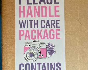 """100pk - Handle with Care Photos - Caution Stickers - 1""""x3"""" Bundle for Packages"""
