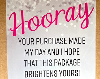 """25pk - Hooray Silver & Pink Stickers - 3.5""""x3.5"""" - Bundle for Packages - Small Business"""