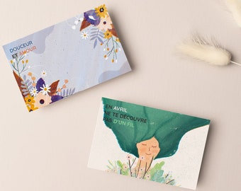 Pack of 4 spring postal cards