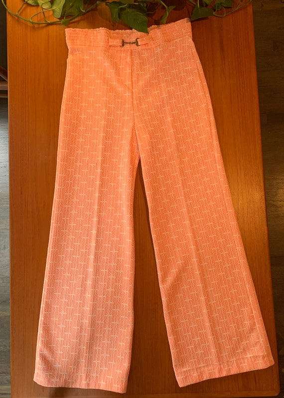 Peach 70s Polyester Pants | Bell Bottoms | Vintage