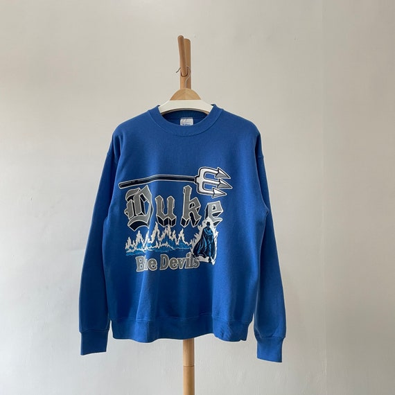 Vintage 90s Duke Blue Devils Blue Collared Sweatshirt Embroidered Size Woman/'s Large