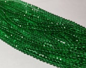 AAAA Quality Green Glass Beads, 100 clean round Rondelle Faceted beads