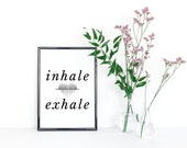 Inhale, Exhale, Wall Print, A4 Poster, Mindfulness, Home Decor