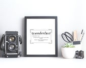 Wanderlust, Wall Print, A4 Print, Definition Print, Poster, Wall Art, Home Decor, Travel Inspired