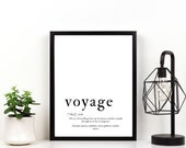 Voyage, Wall Print, A4 Print, Definition, Poster, Wall Art, Home Decor, Travel Inspired