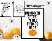 Pumpkin Spice, Halloween, Decorative Wall Print, Spooky, Home Decor, A4 Poster