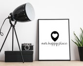 Our Happy Place, Wall Print, A4 Poster, Home Decor, Home Birds