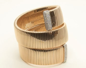 "18k gold tubogas bracelet with diamonds, Solid gold bangle with diamonds, Yellow gold band bracelet, woman bracelet, ""Regina"" bracelet"