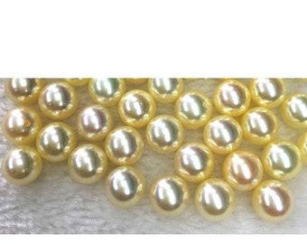 Half Drill PB189 Loose Akoya Pearl Beads Japanese Pearls 7-9mm AKOYA Pearl Champagne Saltwater Pearl
