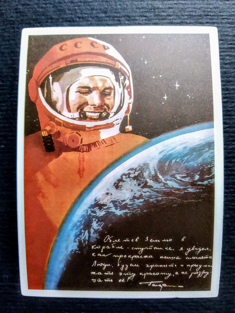 Set of 6 vinyl stickersdecals in the style of pin-up USSR,Space,Soviet Propaganda,Yuri Gagarin,Laptop Decor,Car Decor,Bicycle Decor.