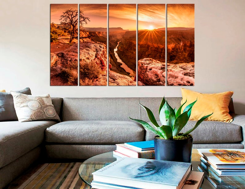 Grand Canyon Wall Art Abstract Naturalism Colorado River Arizona Framed Canvas Print Sunset Beautiful Landscape Contemporary Artwork