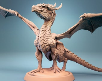 Baby Green Dragon 3d printed Miniature for tabletop RPGs Dungeons and Dragons DnD D&D Pathfinder