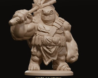Tortle|Turtle, Peacekeeper|Fighter 3d printed Miniature with Mace for Tabletop RPGs|Dungeons and Dragons|DnD|D&D|Pathfinder