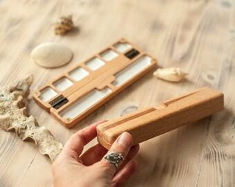portable wooden palette 6 weels, watercolor palette