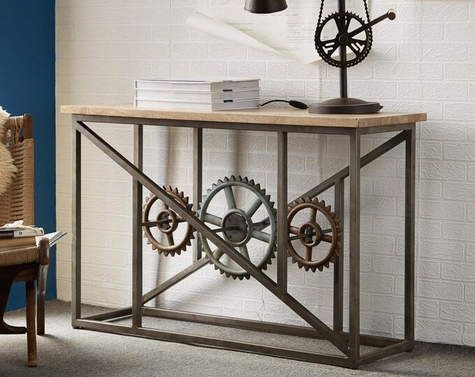 Industrial Style Console Table Hallway Furniture Sideboard Unique Handmade Entryway Stand Metal Base Solid Mango Reclaimed Wood Top