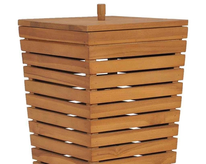 Wooden Laundry Basket with Lid Clothes Hamper Bin Storage Solid Wood Chest Unit