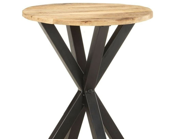 Industrial Side Table Rustic Solid Mango Wood Plant Stand Bedside Nightstand End