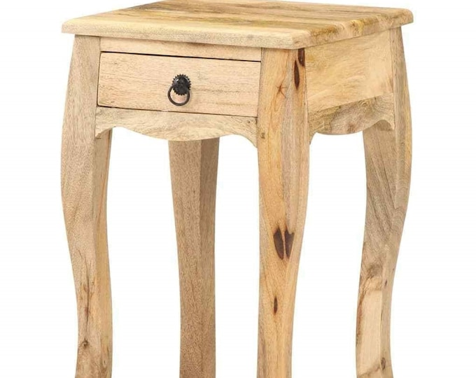 French Style Bedside Cabinet Solid Mango Wood Rustic Side End Nightstand Plant Stand