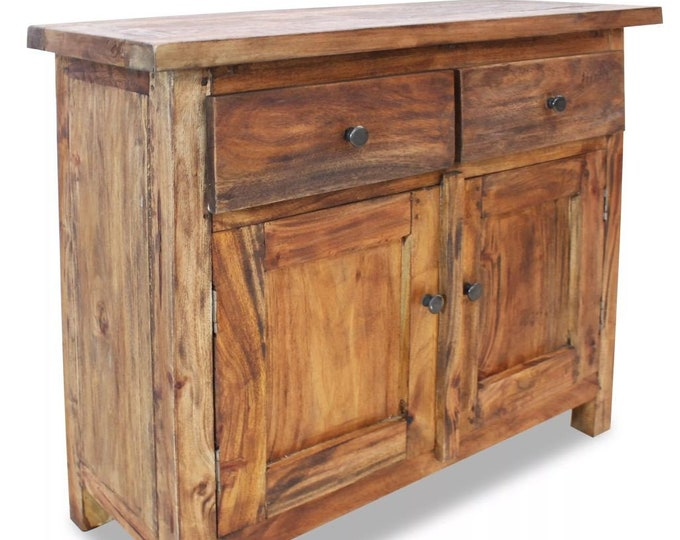 Rustic Wooden Sideboard Small Vintage Cupboard Solid Wood Reclaimed TV Cabinet Slim Console Table Handmade