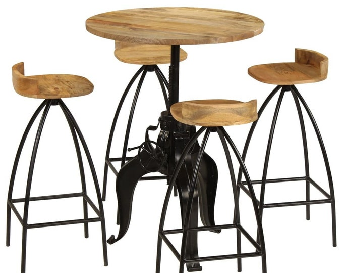 Industrial Bar Table and Stool Set 5 pcs Kitchen Dining Furniture Solid Mango Wood Bistro