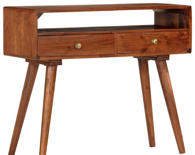 Scandinavian Style Console Table with Drawers Slim Hallway Cabinet Narrow Storage Handmade Honey Brown Solid Acacia