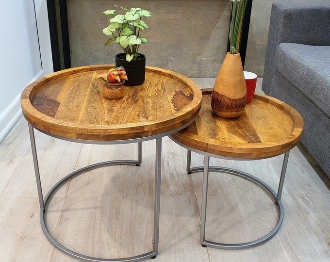 Pair Side End Tables Solid Mango Wood Round Coffee Nesting Industrial Nest of Tables Handmade Rustic