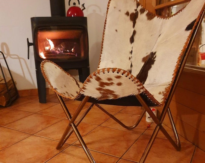 Retro Vintage Leather Chair Handmade Butterfly Chair Industrial Occasional Relax Brown White Genuine Goat Leather