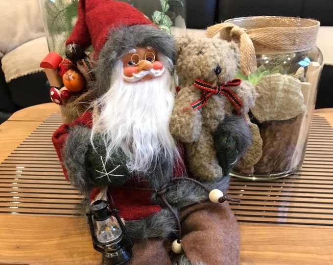 Father Christmas Sitting Santa Claus Figure Home Decoration Xmas Traditional Rustic