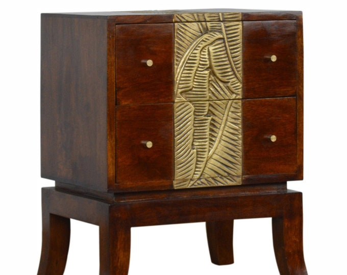 100% Solid Mango Wood Bedside Table Handmade Cabinet Carved Brass Foil Design Unit Stand Side Table Nightstand