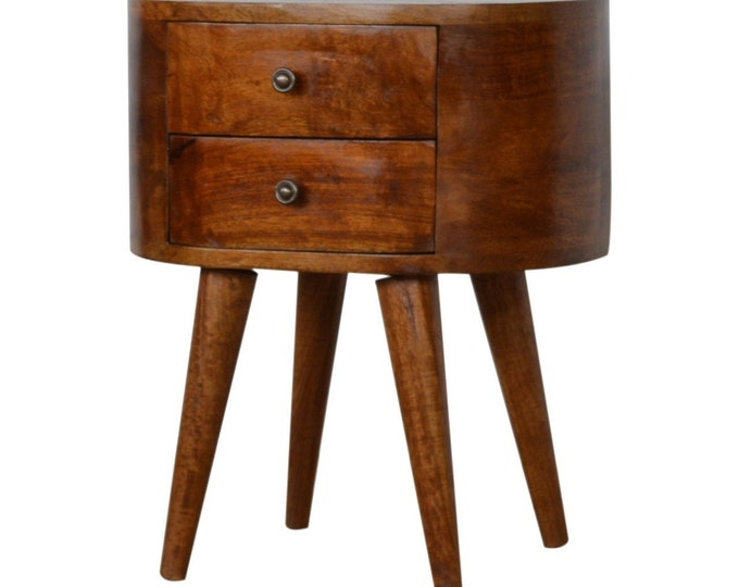 Round Scandinavian Style Bedside Table Nordic Retro Nightstand Side Table Handmade Solid Mango Wood Brown Cabinet