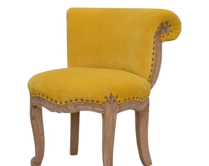 Velvet Chair Mustard Occasional Accent Seat Bedroom Living Room Vanity Boudoir Chair Studded Chic Handmade