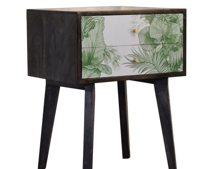 Mid-Century Modern Bedside Table Unique Nightstand Storage Side End Tropical Print Handmade