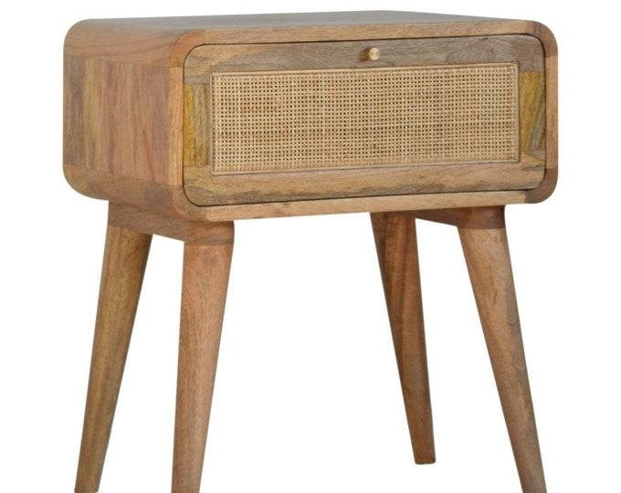 Scandinavian Bedside Table Cabinet Nightstand Nordic Solid Mango Wood Handmade