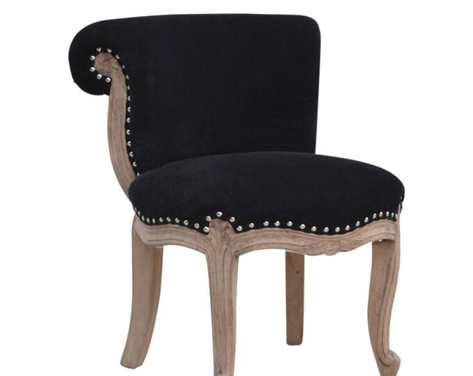 Velvet Chair Black Occasional Accent Seat Bedroom Living Room Vanity Boudoir Chair Studded Chic Handmade