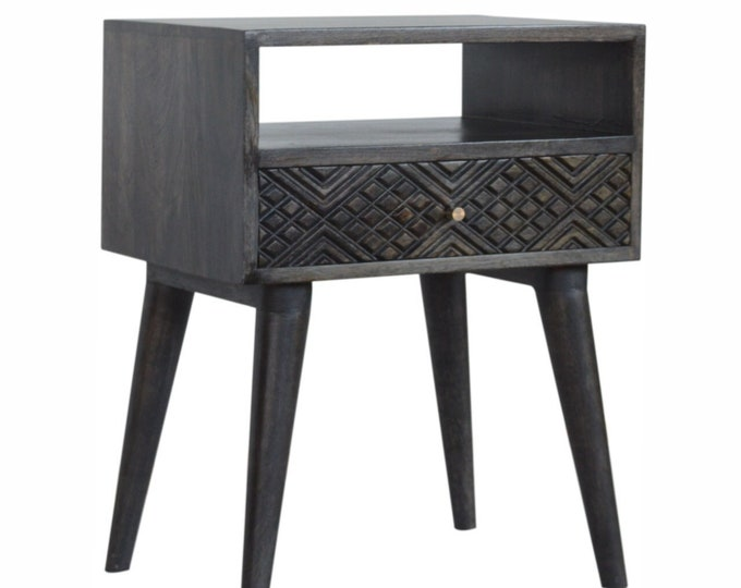 Scandinavian Bedside Table Handmade Ash Black Carved Nightstand Nordic Side End