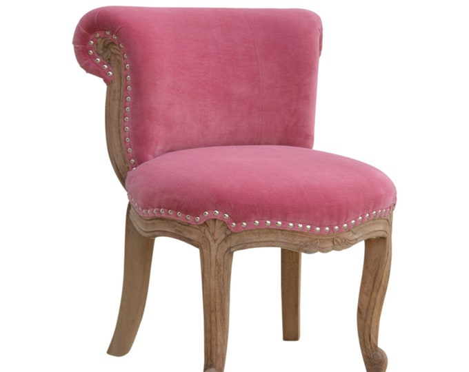 Velvet Chair Pink Occasional Accent Seat Bedroom Living Room Vanity Boudoir Chair Studded Chic Handmade