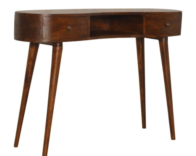 Retro Rounded Writing Desk Solid Mango Wood Chestnut Handmade Console Table 2 Drawer