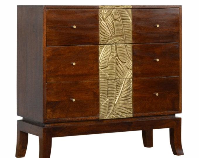 100% Solid Mango Wood Chest of Drawer Table Handmade Cabinet Carved Brass Foil Design Unit Stand Side Table Dresser Sideboard