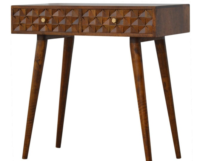 Narrow Hallway Console Table Retro Scandinavian Style Hall Table With Drawers Entryway Small Solid Mango Wood Handmade Carved