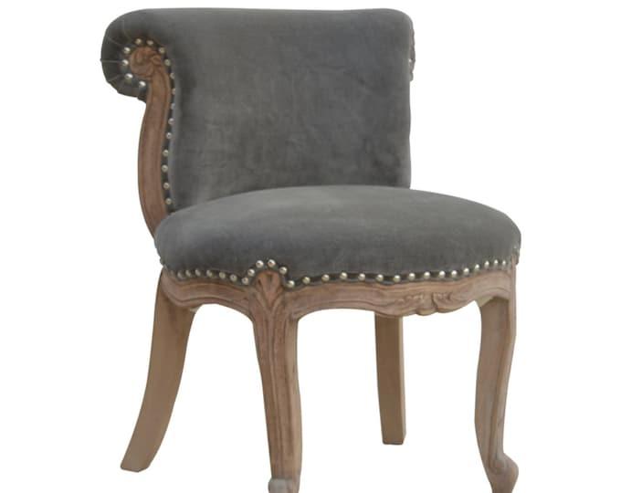 Velvet Chair Grey Occasional Accent Seat Bedroom Living Room Vanity Boudoir Chair Studded Chic Handmade
