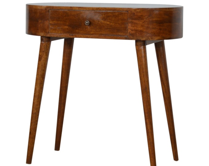 Small Hallway Console Table Chestnut Scandinavian Oval Side Table Dressing Stand Entryway Solid Mango Handmade Nordic