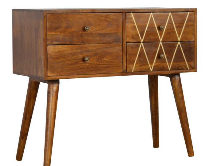 Scandinavian Console Table 4 Drawer Brass Inlay Side Cabinet Buffet Solid Mango Wood