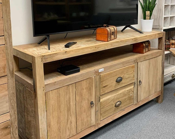 Large TV Stand Rustic Recycled Wood Sideboard Cupboard Cabinet Handmade
