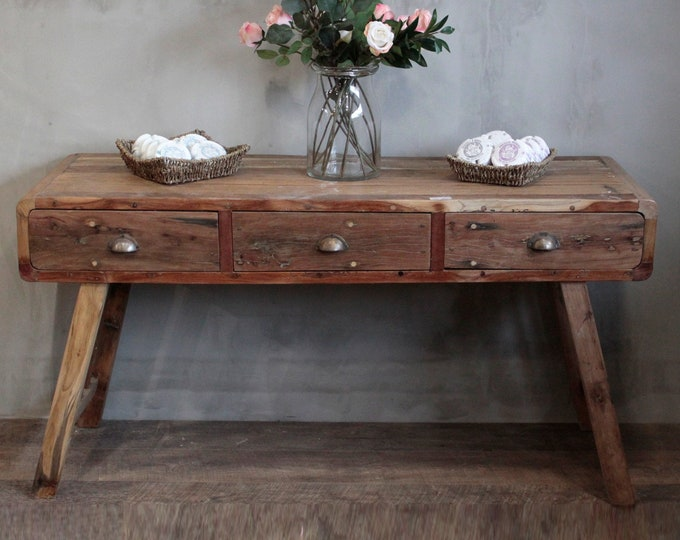 Rustic Console Table with 3 Drawers Handmade Chunky Recycled Teak Solid Wood Country Style Sideboard Side Cabinet Sofa Table