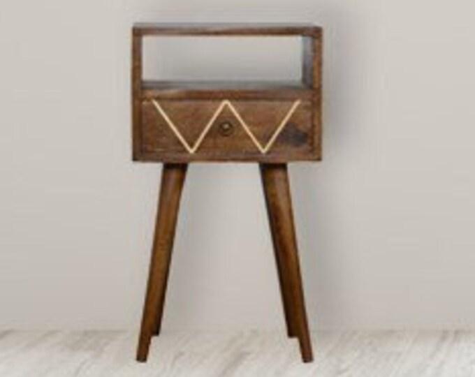 Scandinavian Style Bedside Table Slim Nordic Retro Nightstand End Side Brass Inlay Handmade