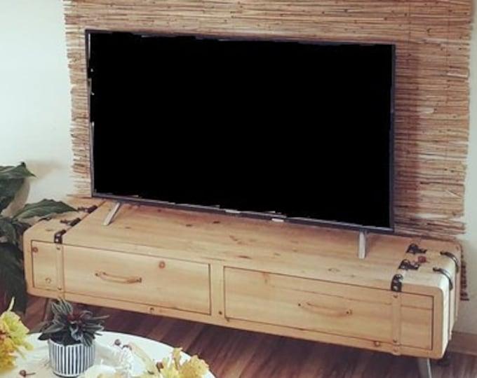 Industrial Style TV Unit Rustic Boho Media Cabinet Stand Sideboard Lowboard Wood Slim